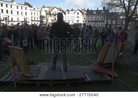 Billy Bragg  in front of Exeter Cathedral