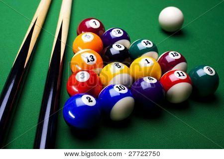 Close-up billiard balls