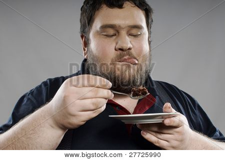 Funny Fat Guy Eating Chocolate Cake