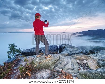Hiker Travel Alone Take And