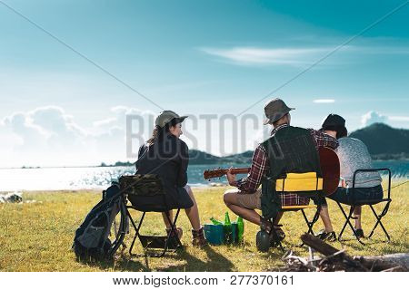 Camping Group Of Friends Asian