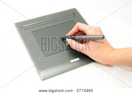 Graphic Tablet, Pen And Designer Hand