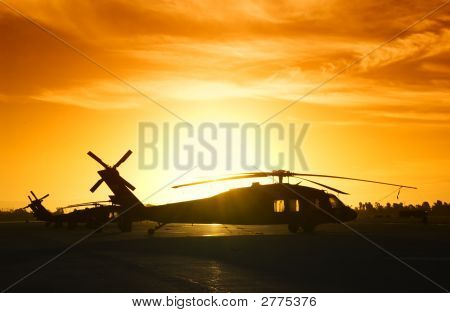 Silhouette Of Military Helicopter