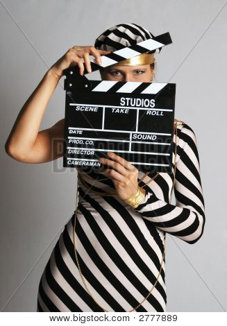 Model In Stripy Dress And Cap At Shooting