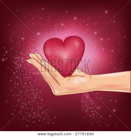 Hand Holding A Hot Heart