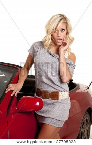 Woman Gray By Car Shock