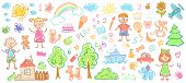 Child Drawings. Kids Doodle Paintings, Children Crayon Drawing And Hand Drawn Kid Vector Illustratio poster