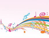 image of musical note  - A Music note wave with Music theme background - JPG