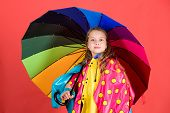 Waterproof Accessories Make Rainy Day Cheerful And Pleasant. Kid Girl Happy Hold Colorful Umbrella W poster