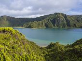 Landscape With Beautiful Blue Crater Lake Lagoa Do Fogo From Viewpoint Miradouro Da Lagoa Do Fogo. L poster