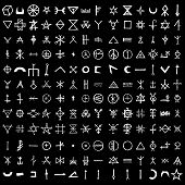 Large Set Of Alchemical Symbols Isolated On White Background. Hand Drawn And Written Elements For Si poster