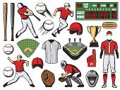 Baseball Sport Team Players And Softball Game Items. Bats, Balls And Base, Trophy Cup, Stadium Field poster