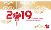 Happy Chinese New Year. Year Of The Pig. Pig - Symbol 2019 New Year. Template Festive Horizontal Ban poster