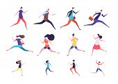 Running People. Flat Man And Woman, Business Persons And Kids Run. Flat Vector Runner Jogging Charac poster