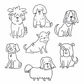 Set Of Cute Handdrawn Dogs Line Illustrations Isolated On White. Cute Sketchy Dogs Collection. Perfc poster
