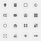 Multimedia Icons Line Style Set With Video, Previous, Web Cam And Other Target Elements. Isolated Ve poster