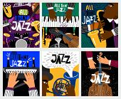 Jazz Banners. Jazz Music Vector Posters With Musical Instruments Like Saxophone And Piano, Double Ba poster