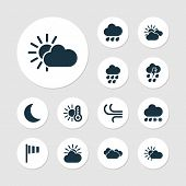 Climate Icons Set With Overcast, Wind, Temperature And Other Overcast Elements. Isolated  Illustrati poster