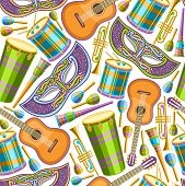 Vector Seamless Pattern For Brazil Carnival, Repeating Illustration Of Colorful Fancy Venetian Mask, poster