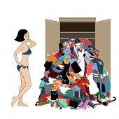 Nothing To Wear Concept, Young Attractive Stressed Woman Looking At A Pile Of Messy Clothes Gotten O poster