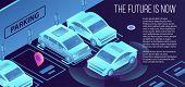 Future Smart Parking Banner. Isometric Illustration Of Future Smart Parking Vector Banner For Web De poster