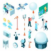 Meteorological Center Set Of Isometric Icons With Weather Measuring Equipment And Forecasters Isolat poster