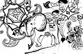 Illustration Of A Psychedelic Elephant On A Background Of Madhala, Animals. poster