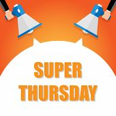 Super Thursday Announcement, Hand Holding Megaphone And Specch Bubble Announcing Big Sale, Vector Ep poster