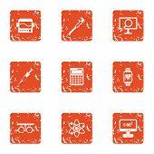 Scientific Progress Icons Set. Grunge Set Of 9 Scientific Progress Icons For Web Isolated On White B poster