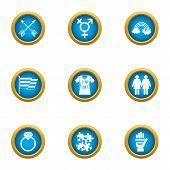 Relationship Holiday Icons Set. Flat Set Of 9 Relationship Holiday Icons For Web Isolated On White B poster