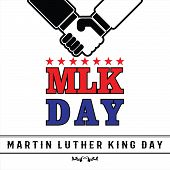 Mlk Day Poster. Shake Hand Black And White Vector Ilustration. Martin Luther King Jr. Day. Red Star. poster