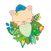 Newborn Baby Cat In Floral Wreath. Animal Baby Vector Illustration On White Background. Cat Toddler  poster
