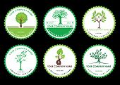 Set Circle Green Tree With Leaves Logo . Six Logo Tree Green Circle  Isolated On Black Background. H poster