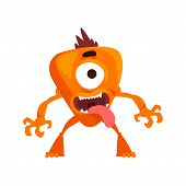 Funny One Eyed Monster With Its Tongue Out, Fabulous Creature Cartoon Character Vector Illustration poster
