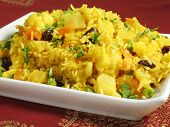 picture of indian food  - A colorful Indian rice dish made from basmati rices spices and fresh vegetables - JPG