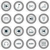 Music Icons Set With Media Player, Previous Music, Rewind Music Back And Other Frequency Elements. I poster