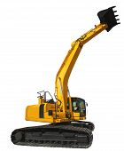 Excavator Loader And Bucket With Clipping Path Isolated Over White Background. poster