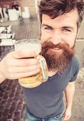 Guy Having Rest With Cold Draught Beer. Hipster On Smiling Face Drinking Beer Outdoor. Draught Beer  poster