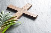 Easter Wooden Cross On Black Marble Background Religion Abstract Palm Sunday Concept poster