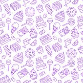Sweet Food Seamless Pattern With Flat Line Icons. Pastry Vector Illustrations - Lollipop, Chocolate  poster