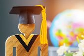 Back To School Concept, People Sign Wood With Graduation Celebrating Cap Blur Pencil Box, Show Alter poster