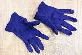 Workshop Of Hand Making A Fleece Gloves From Blue Merino Sheep Wool Using Wet Felting Process - Fini poster