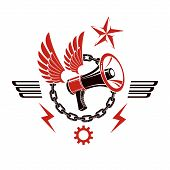 Decorative Vector Emblem Composed With Winged Loudspeaker And Chain. Propaganda As The Means Of Mani poster