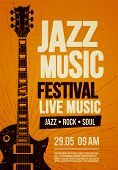 Vector Illustration Poster Flyer Design Template For Rock Jazz Festival Live Music Event With Guitar poster