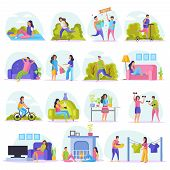 Lazy Weekends People Flat Icon Set With Resting People Watch Tv Sit On Couch Shopping Riding In The  poster