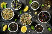 Assortment Of Various Dry Tea - Classic Black And Green, Flower, Fruit, Berry And Herbal Tea Blends, poster