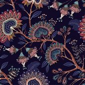 Colorful Wallpaper With Paisley And Decorative Plants. Vector Indonesian Floral Batik. Vector Decora poster