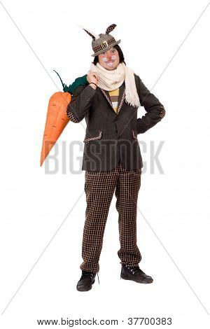 Man Dressed In A Suit Rabbit. Isolated