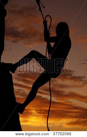 Woman Silhouette Rock Climb