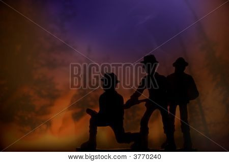 Firefighters In A Forest Fire